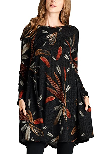 40dfcb691d5ae Asvivid Women s Long Sleeve Feather Graphic Print Tunic Mini Casual Loose Shirt  Dress with Pockets Small