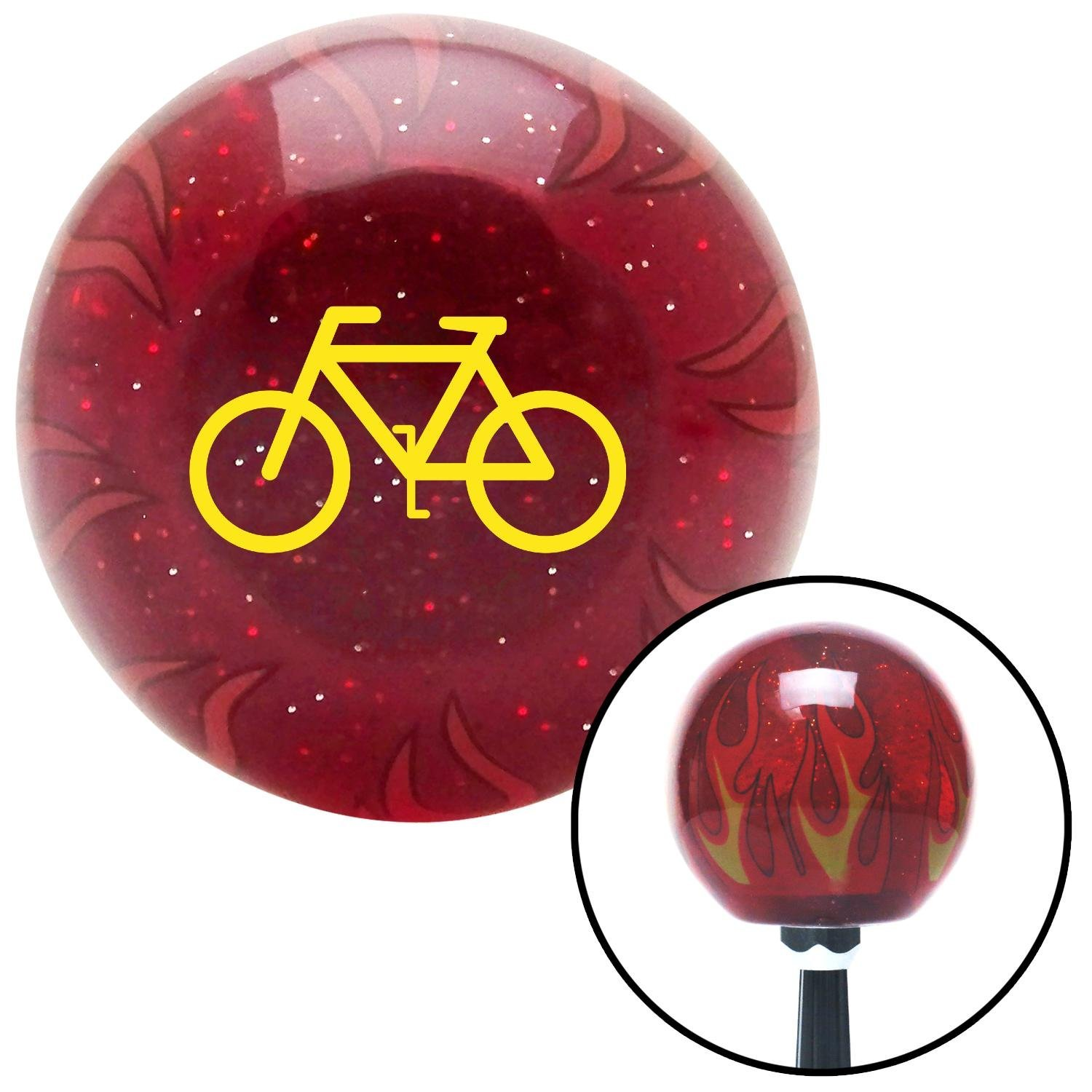 American Shifter 240178 Red Flame Metal Flake Shift Knob with M16 x 1.5 Insert Yellow Bicycle