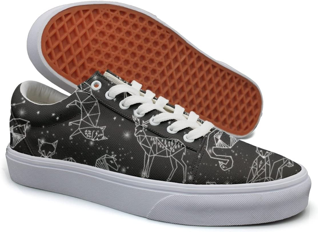Landsr Galaxy Constellations Geometric Animals Mens Canvas Shoes Old School Sneakers