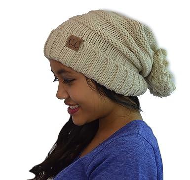14110f86 Women's CC Confetti Slouchy Pom Pom Warm Chunky Stretchy Knit Beanie Hat  Winter Cap (Beige