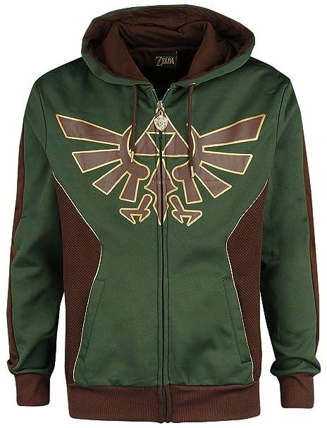 Zelda Chaqueta con Capucha Hyrule Logo Nintendo Verde marrón ...