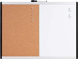 AmazonBasics Magnetic Dry Erase Board, Combo Board, Plastic/Aluminum Frame, 17