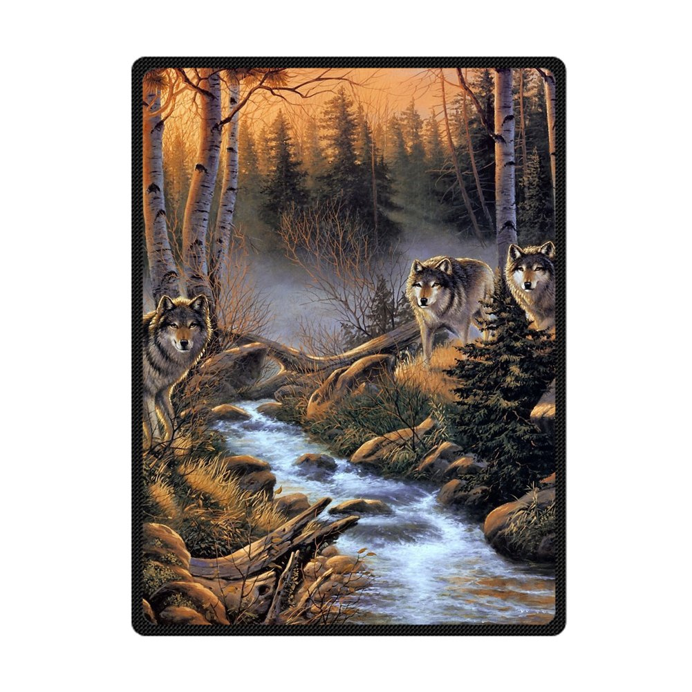 Custom Real Wolves In Woods Stream Fog Supersoft Throw Fleece Blanket 58''X80''