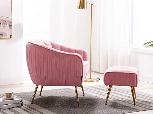 Altrobene Accent Chair Ottoman Set, Modern Club Chair with Footstool, Velvet Upholstered, Curved Tufted, Golded Finished, for Living Room Bedroom Home Office, Pink