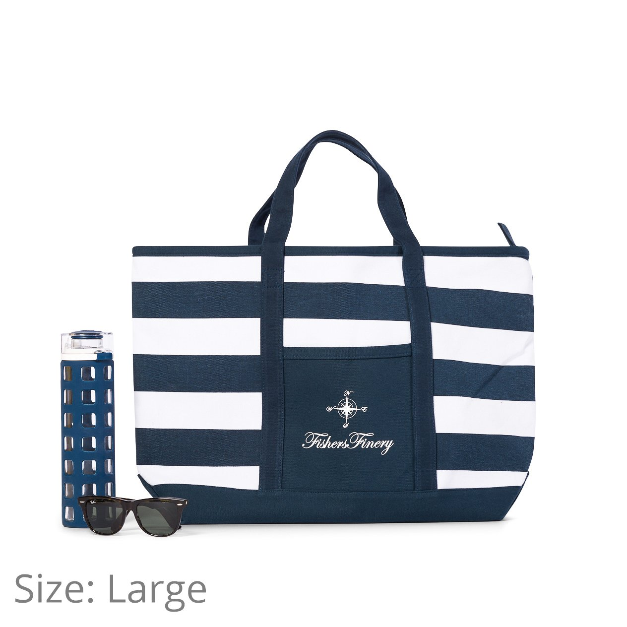Fishers Finery Canvas Tote with Zipper and Lining with interior Pockets; Multi Sizes and Colors (Navy, S) by Fishers Finery (Image #8)