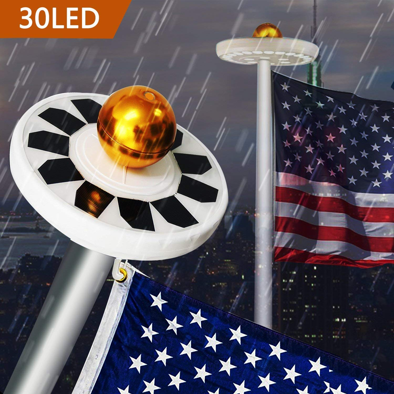 30LEDs Solar Powered Flagpole Flag Pole Light Water-Resistant Downlight for Most 15-25ft Flag Pole Outdoor Light IP65 Solar lamp by TPLINC