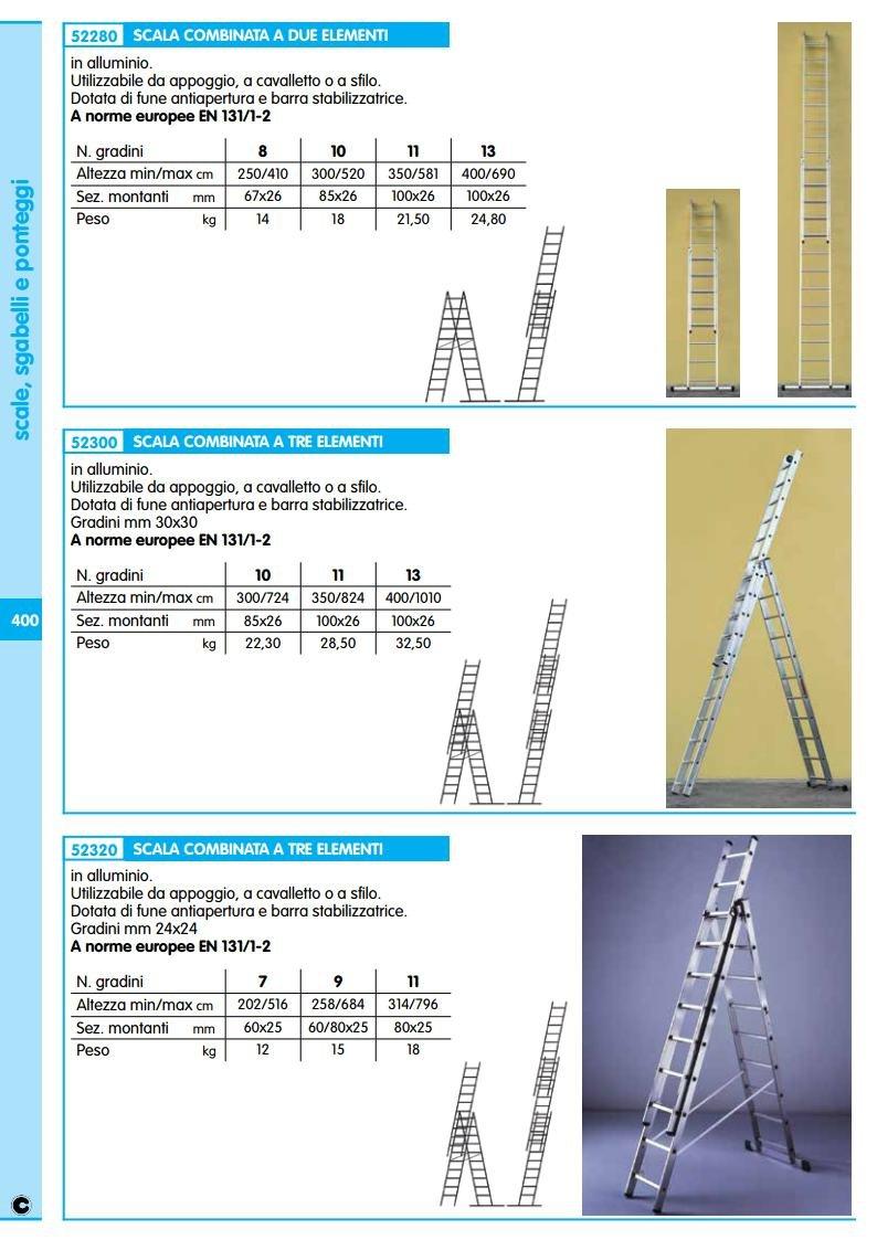 SCALA ALLUMINIO 3X11 GR MT.3,14-7,96 Cartomatica Confezione da 1PZ