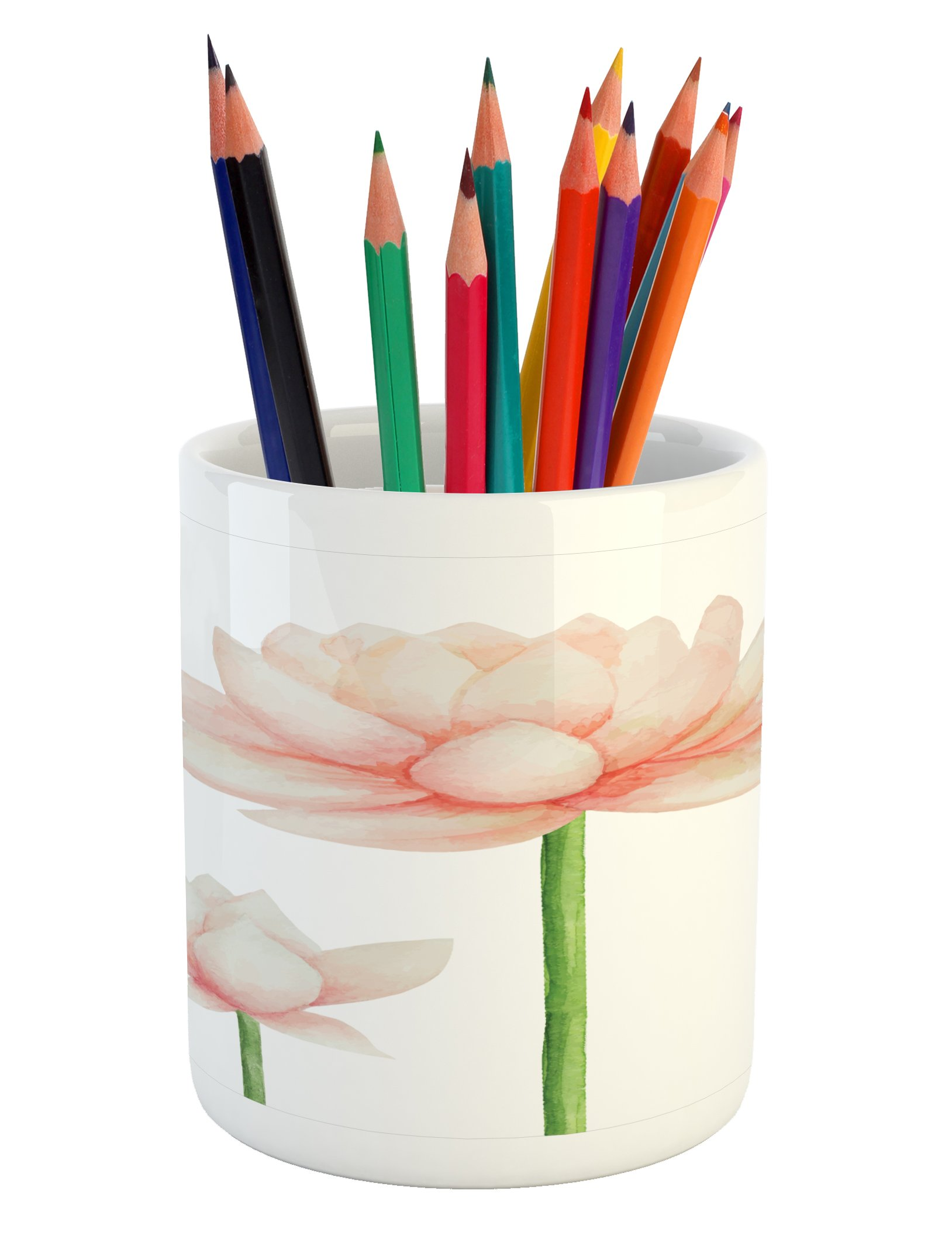 Ambesonne Yoga Pencil Pen Holder, Pastel Colored Blooming Lotus Flower Romantic Fresh Garden Plant Spa Theme, Printed Ceramic Pencil Pen Holder for Desk Office Accessory, Peach Green and White