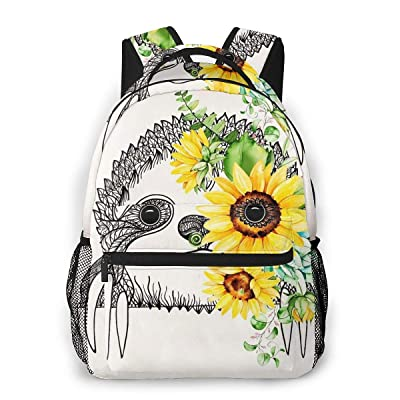 FeHuew Girls Sunflower Sloth Vintage Backpack Bookbag 16 Inch Laptop Bag Shoulder Bag Casual Daypack For 1-5th Grade | Kids' Backpacks