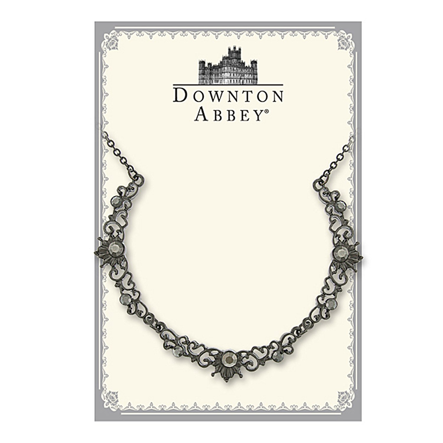Downton Abbey Jeweled Heirlooms Boxed Belle Epoch Filigree Scallop Emerald Pendant Necklace 16