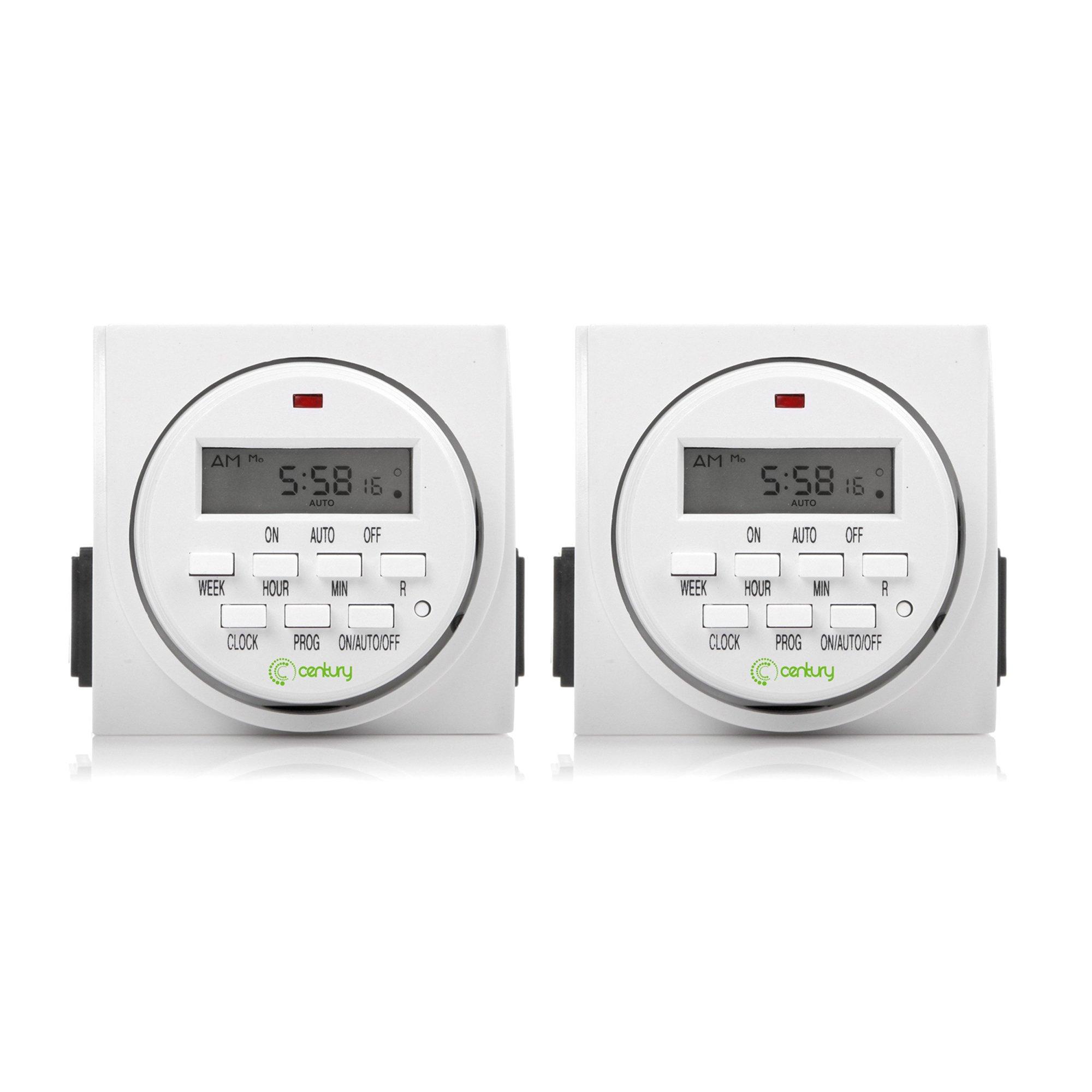 Century 2 Pack FD60-U6 Indoor Digital Timer, White
