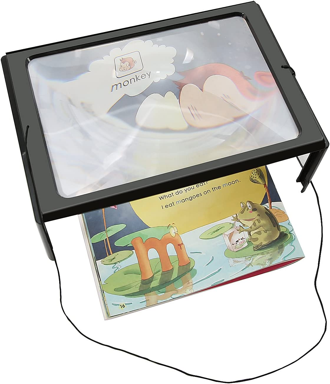 theGizmoMart Hands-free Full Page Magnifier for Reading Sewing Crafts Handicraft Hobby with Stand /& Neck Cord 3X Magnification