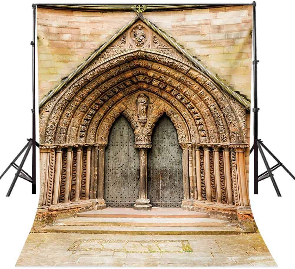 6.5x10 FT Photography Backdrop Medieval Middle Age Cathedral Door Exit with Gothic Ornate Features Great Britain Theme Background for Photography Kids Adult Photo Booth Video Shoot Studio Props