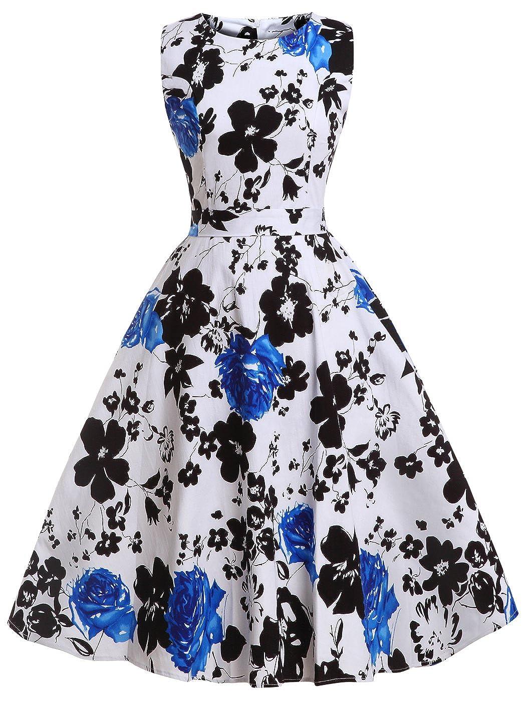 TALLA M. FAIRY COUPLE 50s Vestido de Partido Floral Retro del Oscilación del Cóctel del Vintage con el Arco DRT017 Blanco Azul Floral M