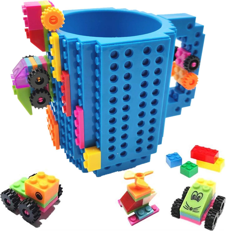 HUISHENG Build-on Brick Mug, Tazas Desayuno, Regalos para Hombres Papá Él Amigos Niños Adulto, Originales Regalo Ideal para Navidad Pascua Dia del Padre Cumpleaños, Compatible con Lego (Azul)