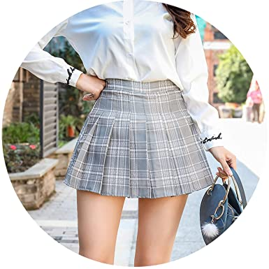 acc6de5448ec Amazon.com: Women High Waist Plaid Pleated Skirt Female Harajuku Preppy  Style Size Zipper Mini Skirts: Clothing