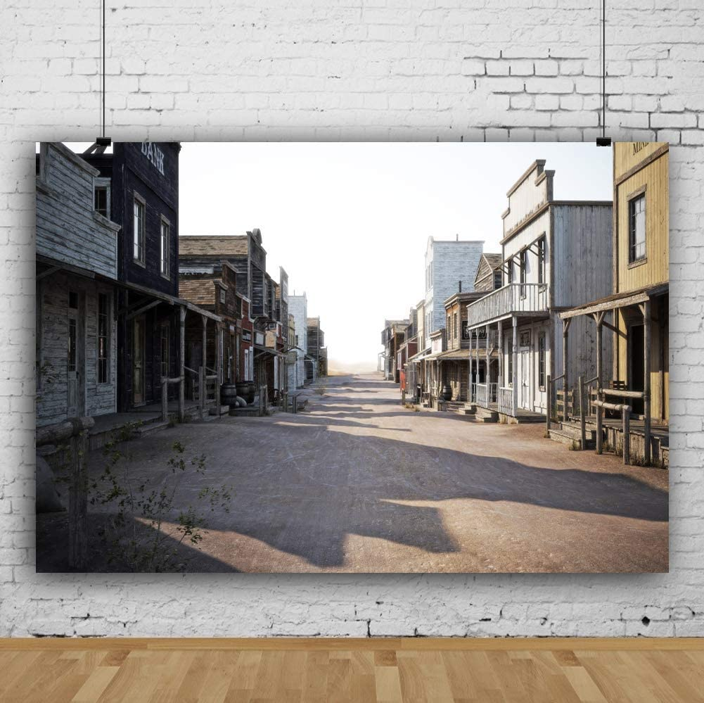 9x6ft Photography Background Western Themed Cowboys Party Backdrop Wild West Ghost Town Old Street Antique Bank Buildings Houses for Kids Boys Birthday Photo Shoot Stuio Props Vinyl