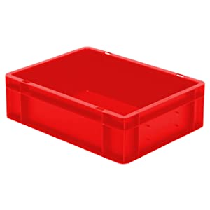 Euro Stacking Box Height 120 mm, L x B 400 x 300 mm, Walls and Closed Base, 10 L, POLYPROPYLENE, Red
