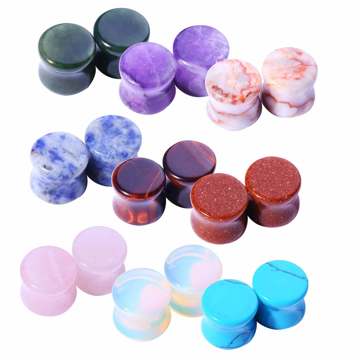 BodyJ4You 18 Pieces Natural Stone Ear Plugs Kit Saddle Style Stretchers Gauges Set 2G (6mm)