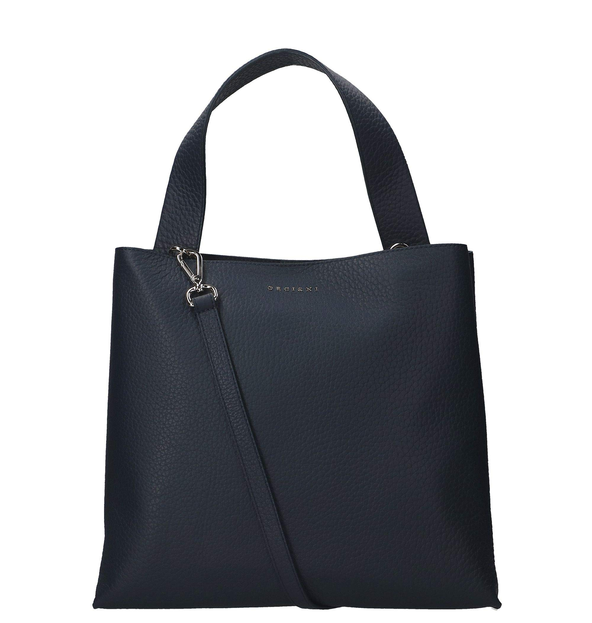 Orciani Women's B02031softnavy Blue Leather Tote