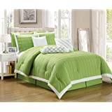 Legacy Decor 9 pc Pleated Microfiber Comforter Set, Lime Green and White Color, Queen Size