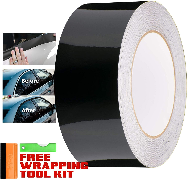 EZAUTOWRAP Free Tool Kit Gloss Black Vinyl Wrap Kit for Black Out Chrome Delete Window Trim Door Trim 2 x100Ft