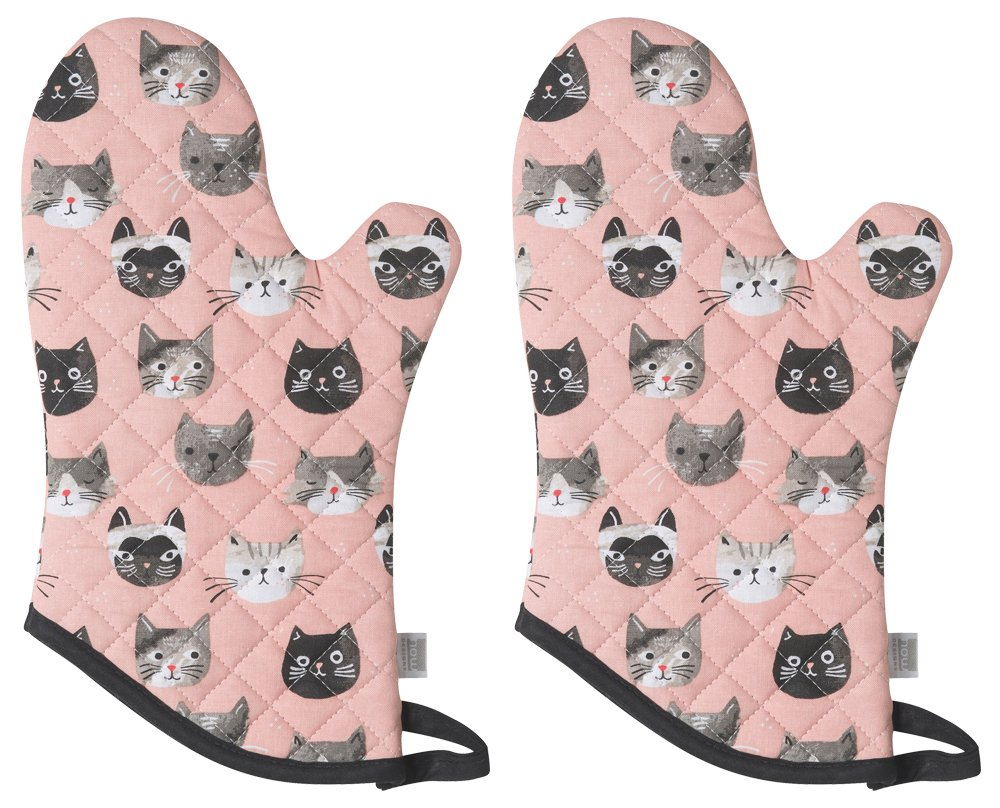 Now Designs Basic Oven Mitts, Set of Two, Cats Meow