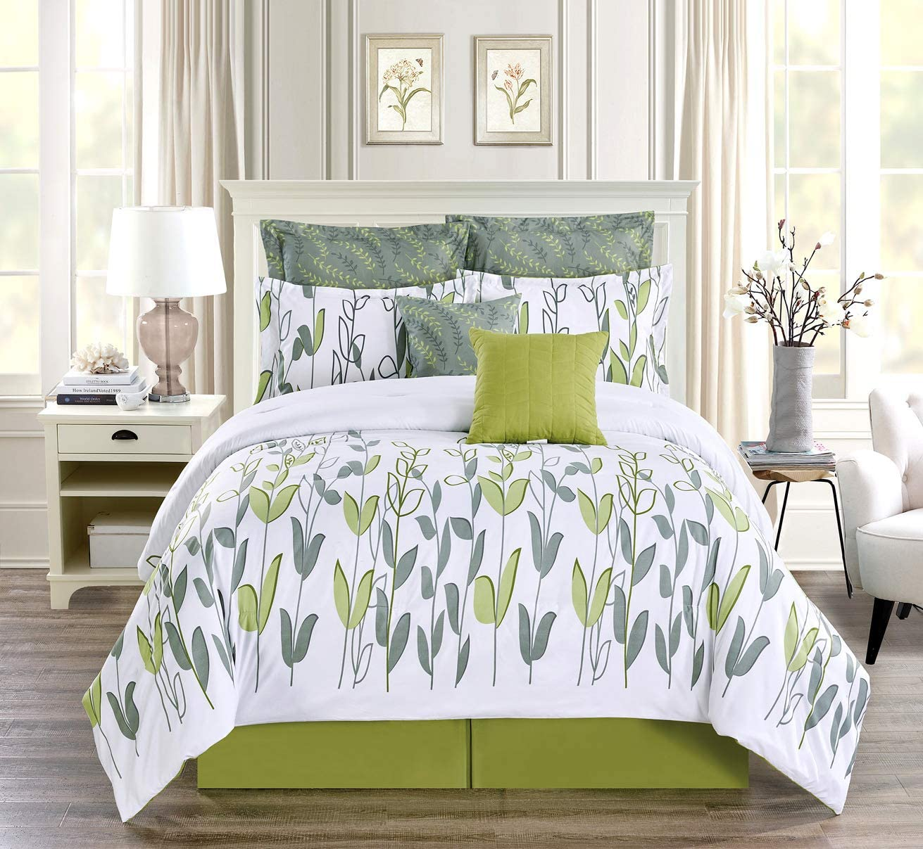 8-Piece Full Size Vine Print Luxury Allen Bedding Sage Green/Grey White Comforter Set Bed in a Bag