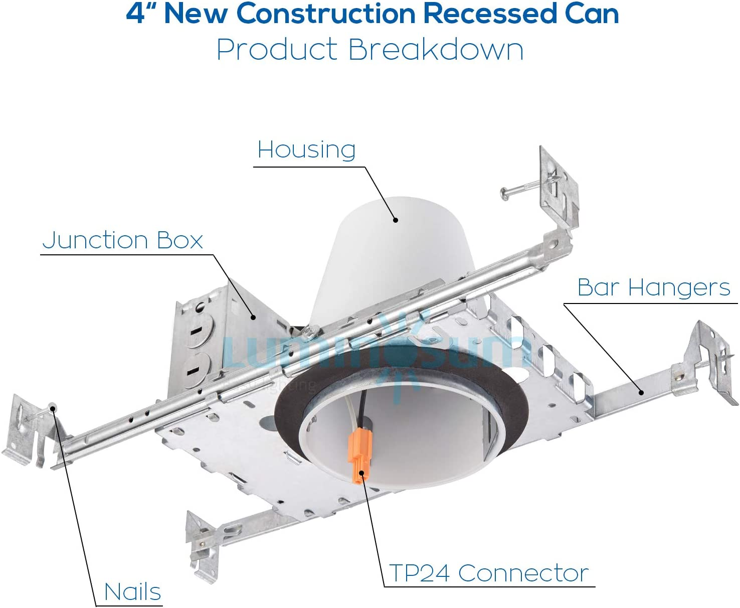 Non-IC Housing LUMINOSUM 4 Inch New Construction Recessed Can with TP24 Connector and E26 Socket 8-Pack UL-Listed