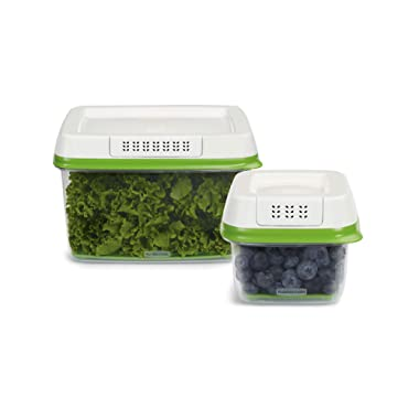 Rubbermaid 1920521 FreshWorks Produce Saver Food Storage Containers, 4-Piece Set, Green