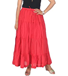 913ab8ad3 KayJayStyles Solid Hippie Gypsy Bohemian Full Circle Ruffle Maxi Long Cotton  Skirt