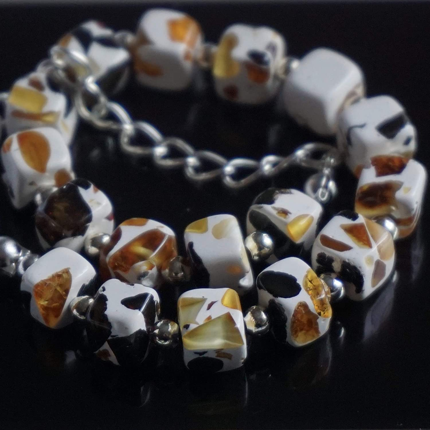 White Bracelet with Brown Yellow Orange Amber Spots for Woman