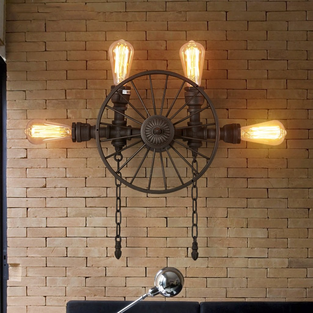 Personality retro wall spotlights european style retro cafe industrial wind aisle balcony lamps american style restaurant bar iron wheel water pipes wall
