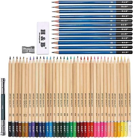 CYHY Set de Estuches de lápices de Colores de Madera de 40 Piezas, Set de Pintura de Colores de Relleno de Plomo de 24 Colores, papelería Profesional para niños y Adultos: Amazon.es: