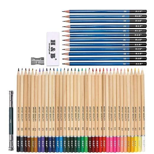 CYHY Set de Estuches de lápices de Colores de Madera de 40 Piezas ...