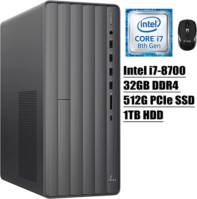2020 Latest HP Envy Desktop High Performance Entertainment Computer 8th Gen Intel Hexa-Core i7-8700 up to 4.6GHz 32GB DDR4 512GB PCIe SSD 1TB HDD WiFi Type-C DVD-RW Win 10 + iCarp Wireless Mouse