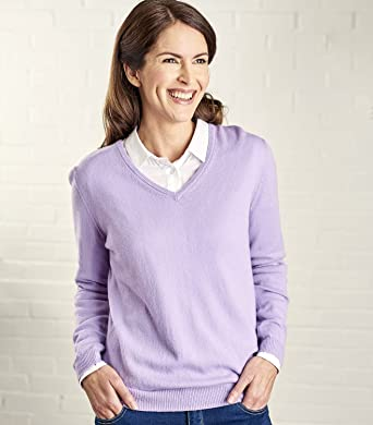 65ad9c6361f Woolovers Ladies Cashmere and Merino V Neck Knitted Sweater Lavender ...