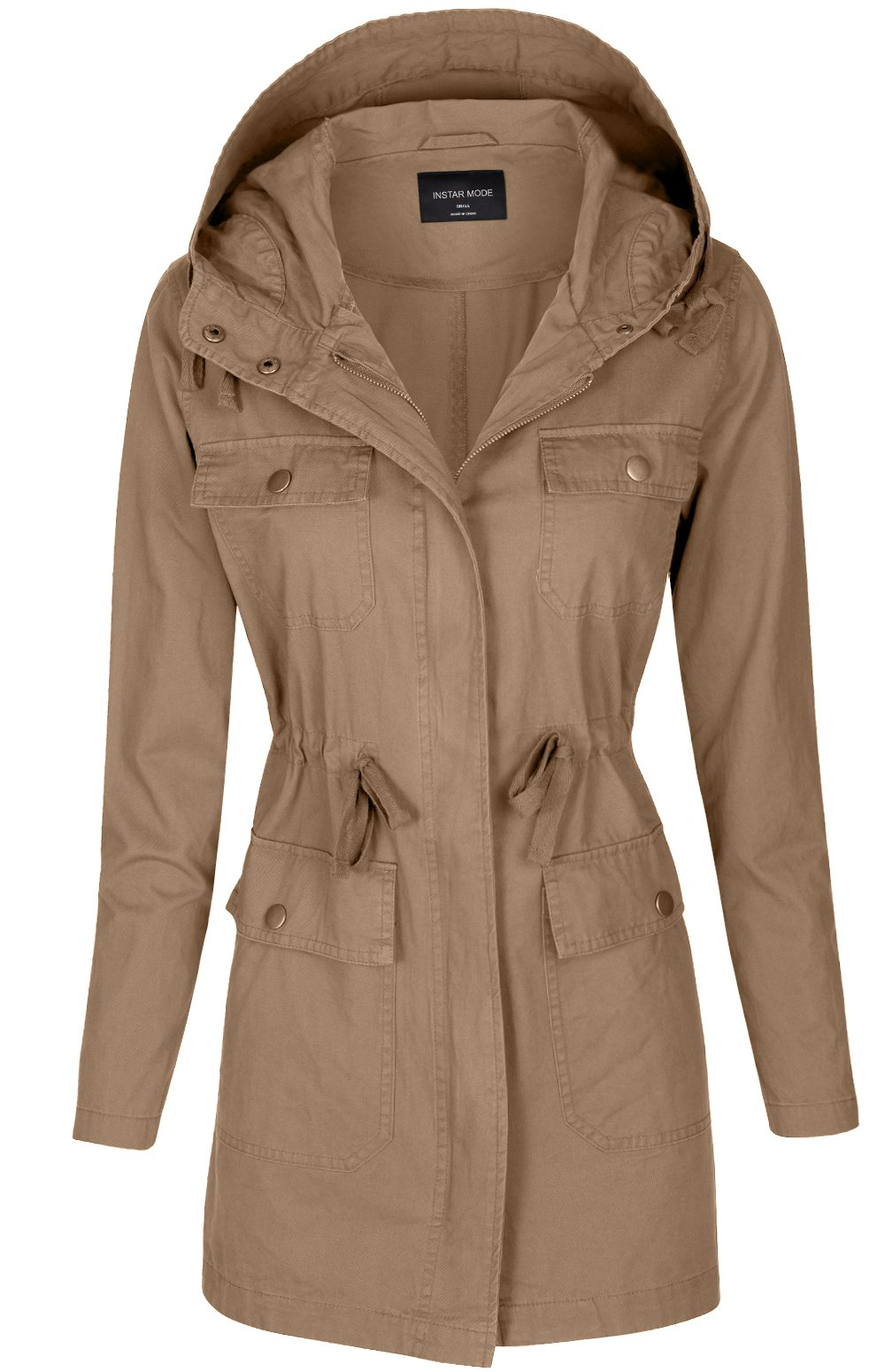 Instar Mode Women's Anorak Safari Hoodie Jacket up to Plus Size (JK19012 Khaki, Medium)