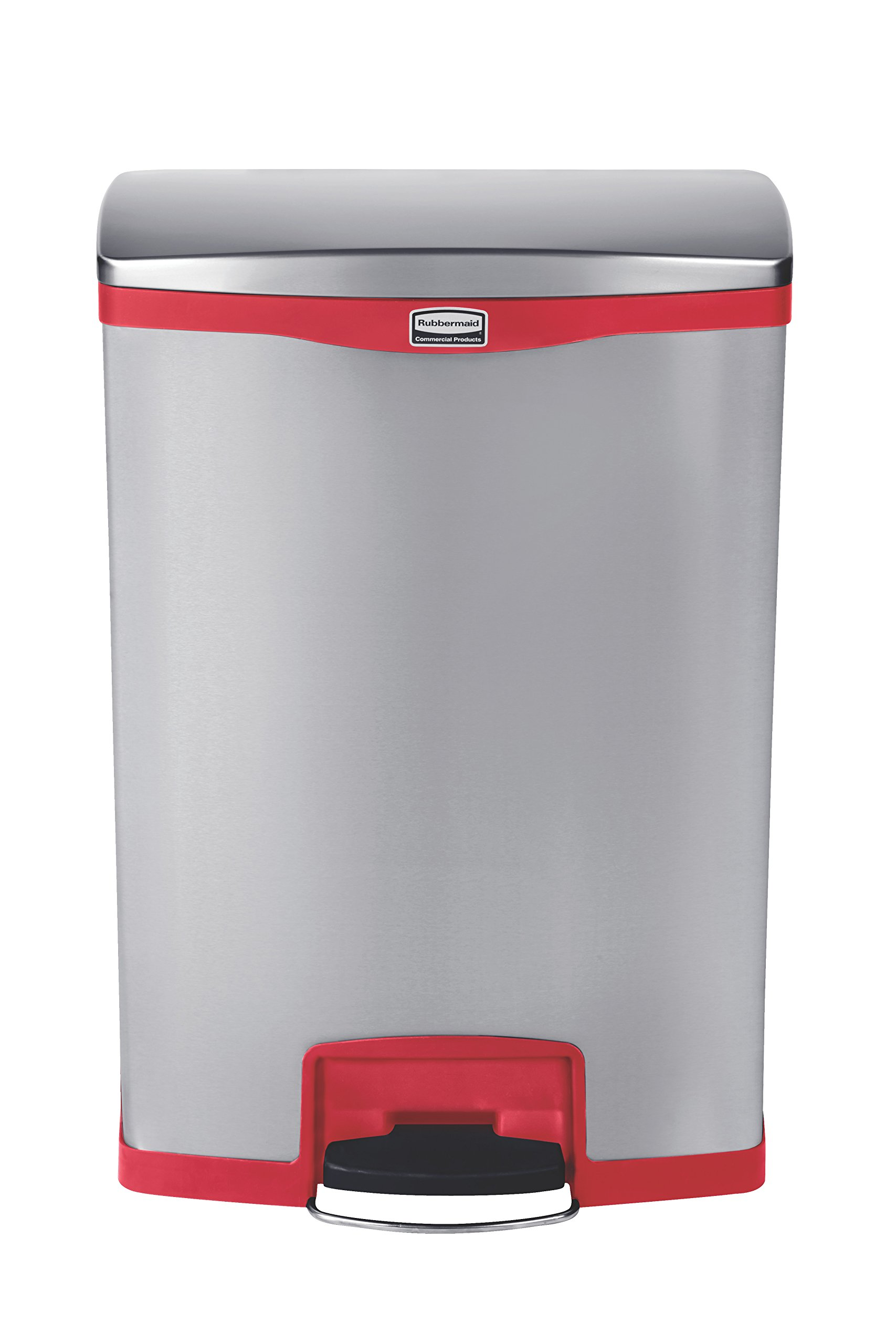 Rubbermaid Commercial Slim Jim Stainless Steel Front Step-On Wastebasket, 24-gallon, Red (1901988) by Rubbermaid Commercial Products (Image #2)