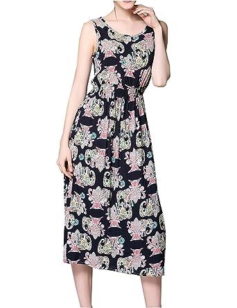 c5d54734200a Darlency Women's Round Neck Sleeveless Waist Tight Floral Holiday Beach Midi  Dress (XL, Black