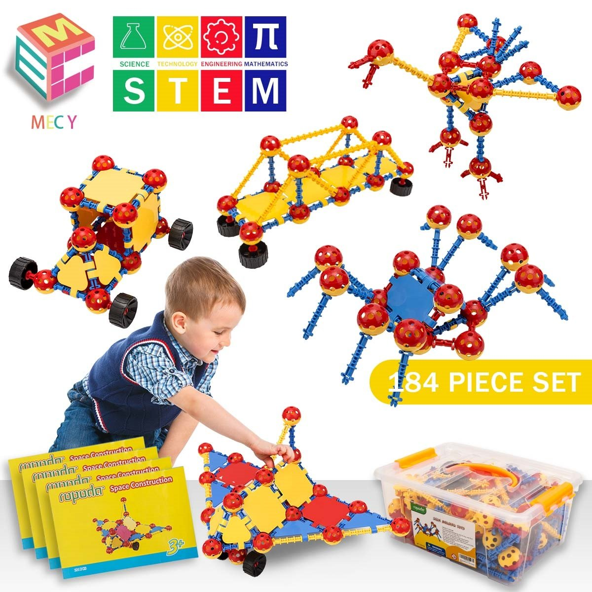 STEM Learning Toys   Creative Construction Engineering   Original 184 Piece Educational Building Blocks Set for Boys and Girls Ages 5 6 7 8 9 10 Year Old   Creative Game Kit   Best Toy Gift for Kids