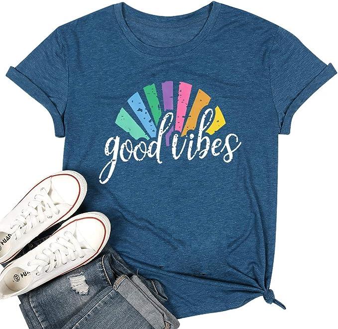 Women Good Vibes Rainbow Top Summer Letters Casual Crew Neck Tee Slogan T-Shirt