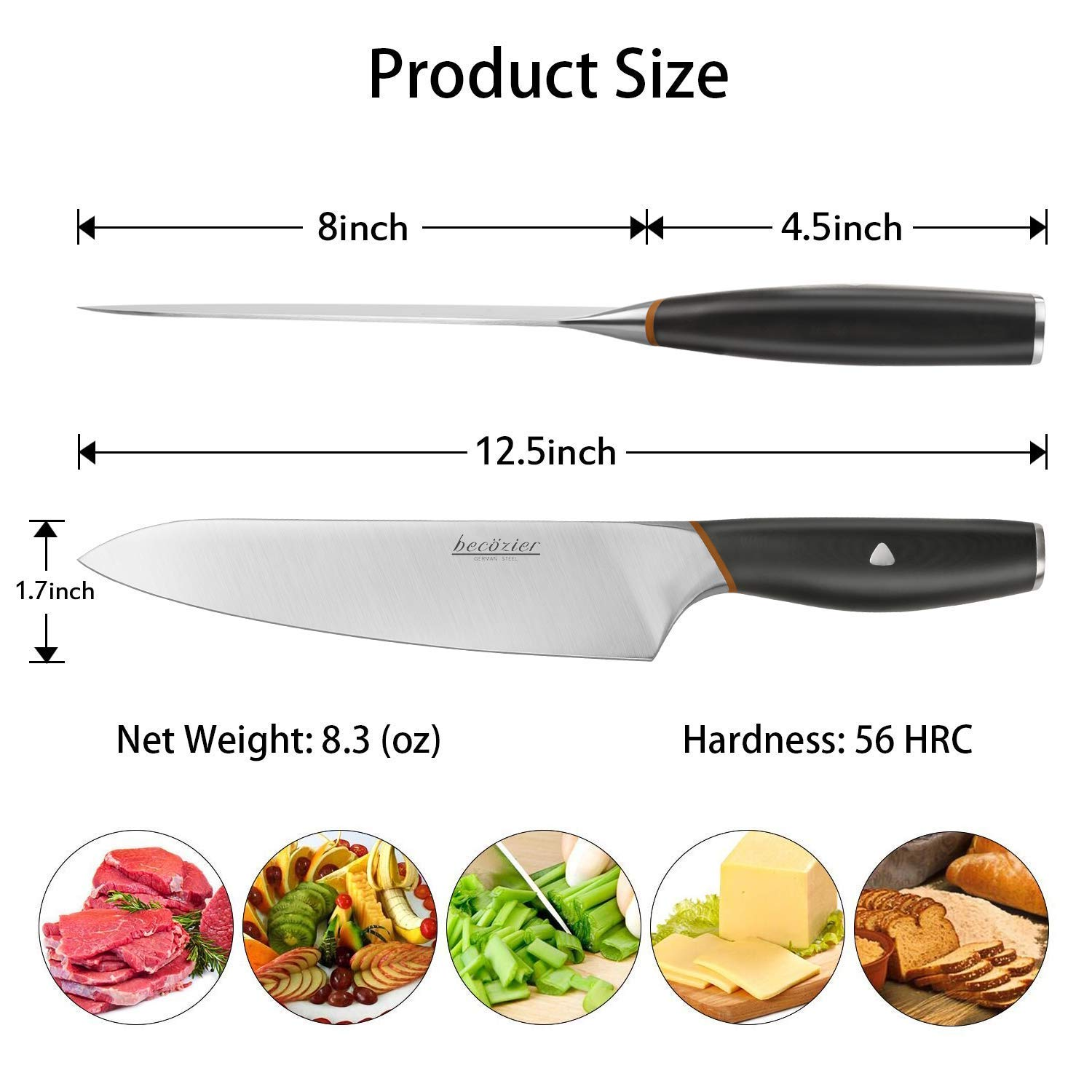 Becozier chef knife,8 inch professional kitchen knife,German High Carbon steel stainless steel with G10 handle sharp Edge,Ergonomic Grip by Becozier (Image #3)