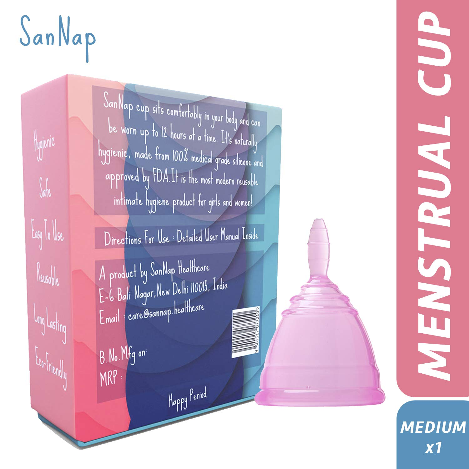 SanNap FDA Approved Reusable Menstrual Cup with Medical Grade Silicone -  Medium (Pink)