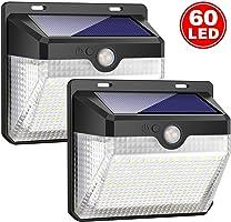 Luces Solares, 2 Paquetes Luz Solar 60 LED Lámpara Solar Exterior IP65 Impermeable Solar Luz LED Iluminación Exterior...