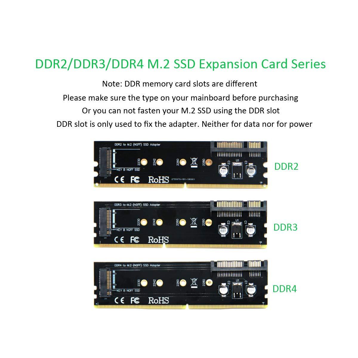 B-Key 2230//2242//2260//2280 Adaptateur SSD bas/é sur SATA NGFF Emplacement de m/émoire Universel DDR2//3//4 Noir ADWITS SATA III 6Gb // S /à M.2 Carte dextension Fasten SSD