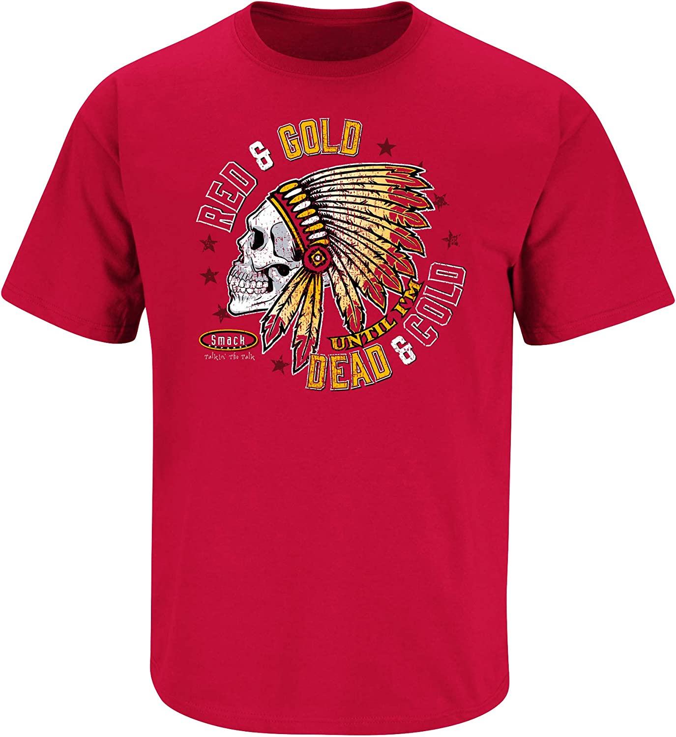 Smack Apparel Kansas City Football Fans Sm-5X Red and Gold Till Im Dead and Cold T-Shirt