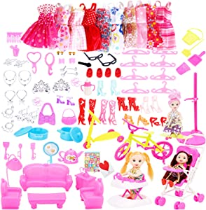 LiLiy 118 Pcs,DIY Creative Doll Simulation Accessories Set, Clothes Shoes Accessories Furniture Simulation Toys