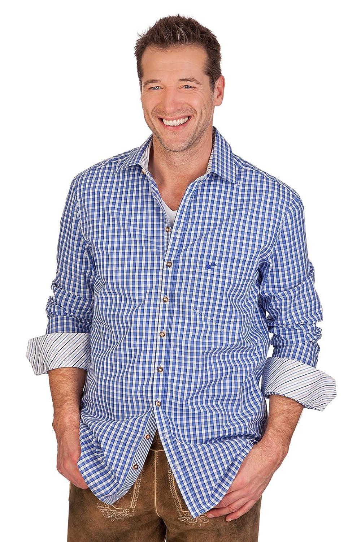 H1408 - Trachtenhemd mit langem Arm - SLIM - braun, tanne, royal