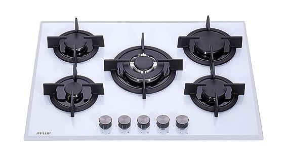 meilleur service 6ec59 04fb6 Millar GH7051PW Plaque de cuisson en Verre trempé avec 5 brûleurs à gaz  Blanc 70 cm/Table de Cuisson